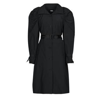 Clothing Women Trench coats Karl Lagerfeld DRAPEDTRENCHCOAT Black