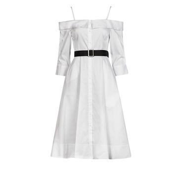 Clothing Women Long Dresses Karl Lagerfeld COLDSHOULDERSHIRTDRESS White