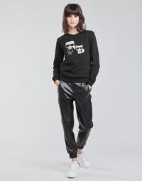 Clothing Women 5-pocket trousers Karl Lagerfeld FAUXLEATHERJOGGERS Black