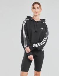 Clothing Women Sweaters adidas Originals SHORT HOODIE Black