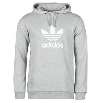 Clothing Men Sweaters adidas Originals TREFOIL HOODIE Grey