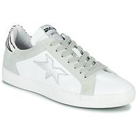 Shoes Women Low top trainers Meline KUC256 White / Silver / Zebra