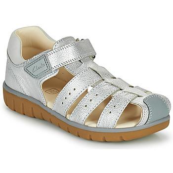 Shoes Girl Sandals Clarks ROAM BAY K Silver