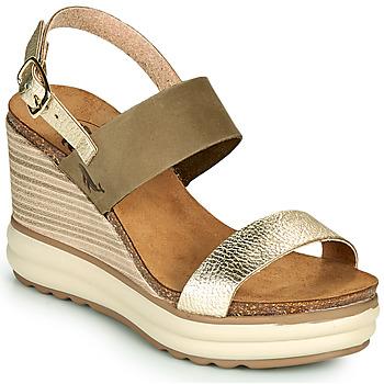 Shoes Women Sandals Plakton PLAKA Kaki / Gold