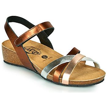 Shoes Women Sandals Plakton NOTE Coppery / Pink / Silver