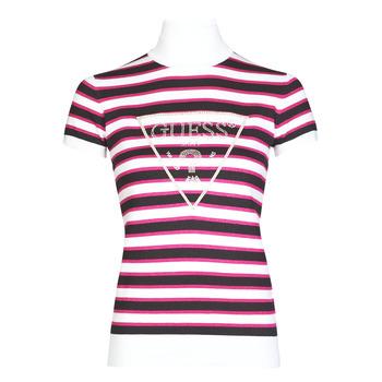 Clothing Women Short-sleeved t-shirts Guess GERALDE TURTLE NECK Black / White
