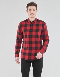 Clothing Men Long-sleeved shirts Jack & Jones JJEGINGHAM Red / Black