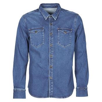 Clothing Men Long-sleeved shirts Yurban OPUCI Blue / Medium