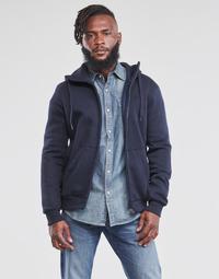 Clothing Men Sweaters G-Star Raw PREMIUM BASIC HOODED ZIP SWEATER Marine