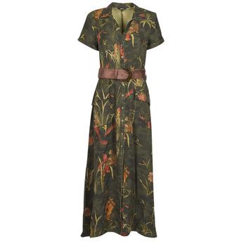 Clothing Women Long Dresses Desigual AMSTERDAM Kaki
