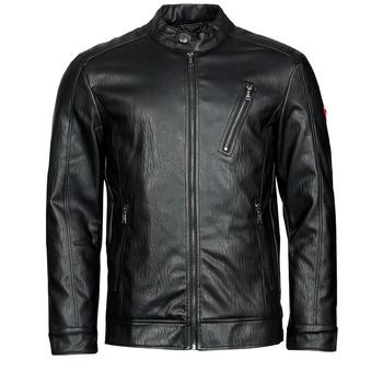 Clothing Men Leather jackets / Imitation leather Guess PU LEATHER BIKER Black