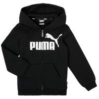 Clothing Boy Sweaters Puma ESSENTIAL BIG LOGO FZ HOODIE Black
