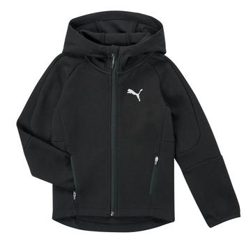 Clothing Boy Sweaters Puma EVOSTRIPE FZ HOODED JACKET Black