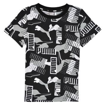 Clothing Boy Short-sleeved t-shirts Puma ALPHA AOP TEE Black