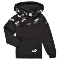 Clothing Boy Sweaters Puma PUMA POWER AOP HOODIE Black