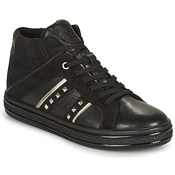 Shoes Women Hi top trainers Geox LEELU' Black / Silver