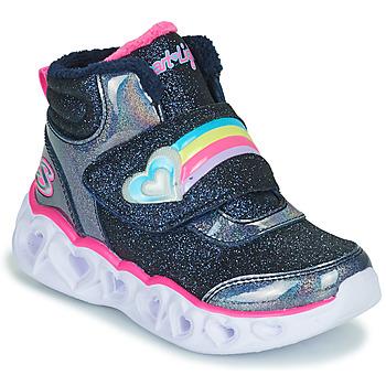 Shoes Girl Hi top trainers Skechers HEART LIGHTS Marine / Led