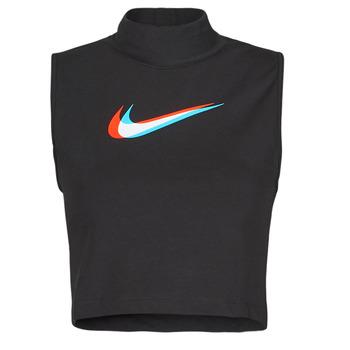 Clothing Women Tops / Sleeveless T-shirts Nike W NSW TANK MOCK PRNT Black