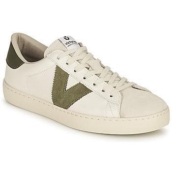 Shoes Women Low top trainers Victoria BERLIN PIEL CONTRASTE White / Kaki