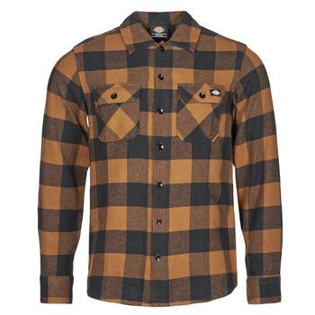 Clothing Men Long-sleeved shirts Dickies NEW SACRAMENTO SHIRT Camel / Black