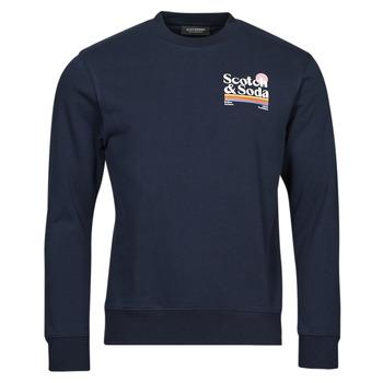 Clothing Men Sweaters Scotch & Soda LOGO ARTWORK MELANGE FELPA Marine