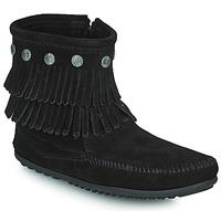 Shoes Women Mid boots Minnetonka DOUBLE FRINGE SIDE ZIP BOOT Black
