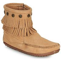 Shoes Women Mid boots Minnetonka DOUBLE FRINGE SIDE ZIP BOOT Brown
