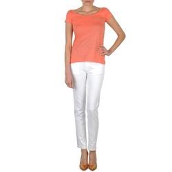 Clothing Women slim jeans Calvin Klein Jeans JEAN BLANC BORDURE ARGENTEE White