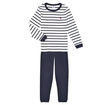 Clothing Boy Sleepsuits Petit Bateau TECHI White / Blue
