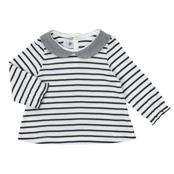 Clothing Girl Long sleeved tee-shirts Petit Bateau HOLINU White / Blue