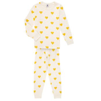 Clothing Girl Sleepsuits Petit Bateau LERINU White / Yellow