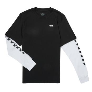 Clothing Boy Long sleeved tee-shirts Vans LONG CHECK TWOFER Black