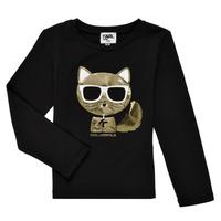 Clothing Girl Long sleeved tee-shirts Karl Lagerfeld AMETHYSTE Black