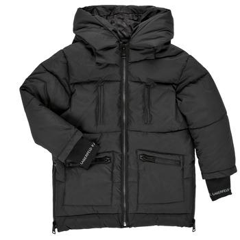 Clothing Girl Duffel coats Karl Lagerfeld DIAMANT NOIR Black