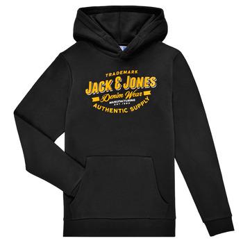 Clothing Boy Sweaters Jack & Jones JJELOGO SWEAT HOOD Black