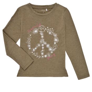 Clothing Girl Long sleeved tee-shirts Name it NKFKALINDA LS TOP Taupe