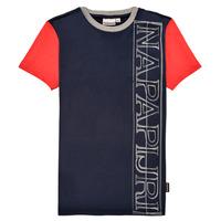 Clothing Boy Short-sleeved t-shirts Napapijri SAOBAB Marine / Red
