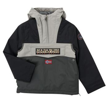 Clothing Boy Parkas Napapijri RAINFOREST POCKET Grey / Black