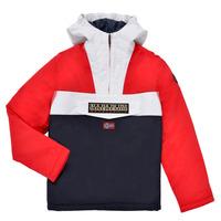 Clothing Boy Parkas Napapijri RAINFOREST POCKET Blue / White / Red