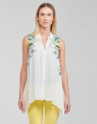 Clothing Women Tops / Blouses Desigual FILADELFIA White / Green