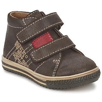 Shoes Boy Hi top trainers Citrouille et Compagnie ESCLO Brown / Red
