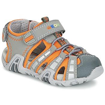 Shoes Boy Outdoor sandals Geox SANDAL KRAZE B Grey / Orange
