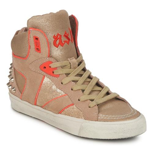 Shoes Women Hi top trainers Ash SPIRIT Beige / Gold / Orange