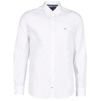 Clothing Men long-sleeved shirts Tommy Hilfiger STRETCH POPLIN White