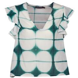 Clothing Women short-sleeved t-shirts Antik Batik BAB White / Green