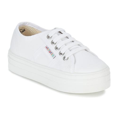Shoes Girl Low top trainers Victoria BASKET LONA PLATAFORMA KIDS White