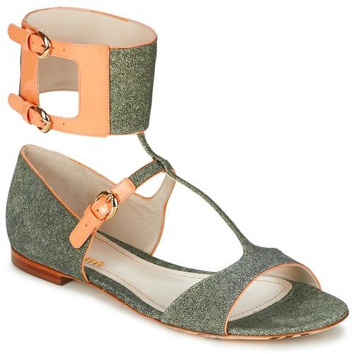 Shoes Women Sandals John Galliano A65970 Green / Beige
