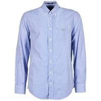 Clothing Men long-sleeved shirts Gant THE POPLIN BANKER STRIPE Blue