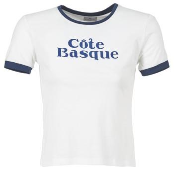 Clothing Women short-sleeved t-shirts Loreak Mendian COTE BASQUE ECRU / MARINE