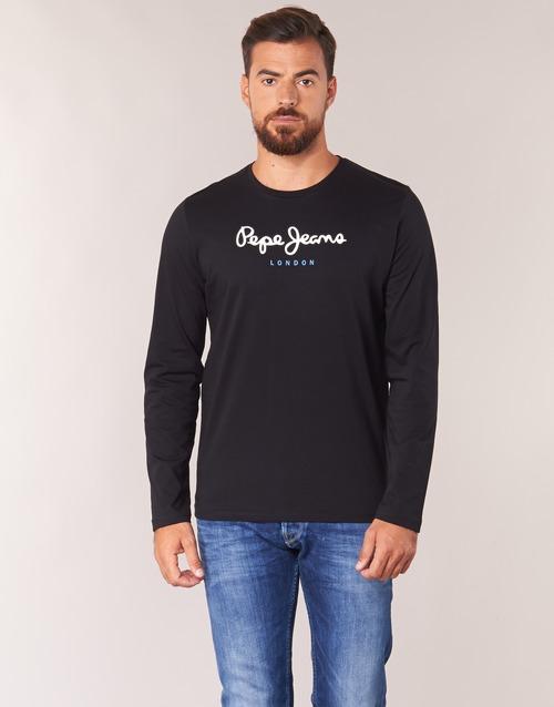 Clothing Men Long sleeved tee-shirts Pepe jeans EGGO LONG Black
